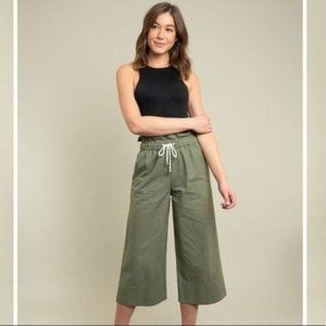 Cropped Wide Leg Olive Pants